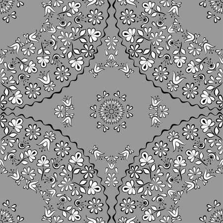 Gentle and lace seamless vector square pattern in the style of Gzhel on the basis of a circle, suitable for background, fabric, paper, cover design, shades of gray 向量圖像