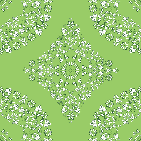 Gentle and lace seamless vector square pattern in Gzhel style on the basis of a circle, suitable for background, fabric, paper, cover design, green freshness