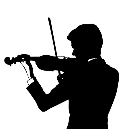 Silhouette of a violinist on a white background, vector illustration