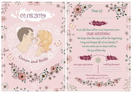 Wedding invitation in pink color with a portrait of the bride and groom, vector illustration