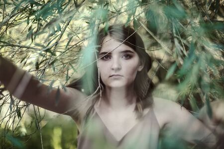 Portrait of a beautiful girl among the hanging branches of a willow