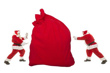 Santa Claus battle for a big bag with gifts