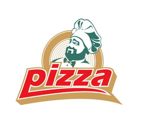 logo de comida: cocinar con pizza  Vectores