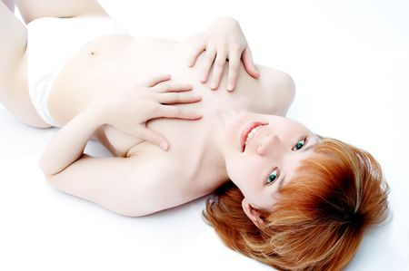 red-headed girl on white photo