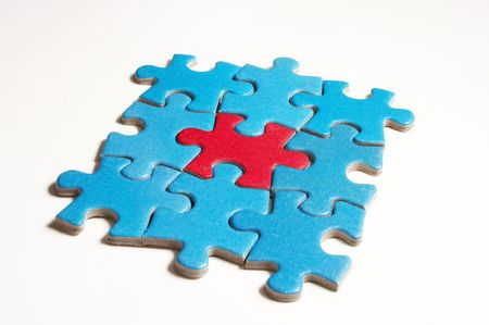 cian: puzzle on white Stock Photo
