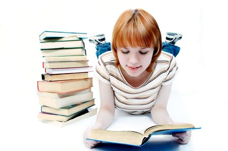 lass: young girl student read the book