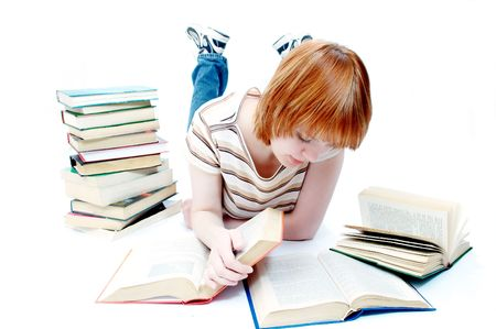 young girl read the book on white photo