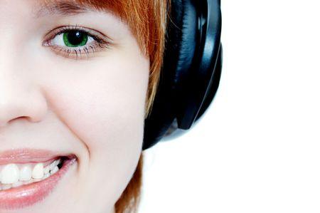 young girl in head phones
