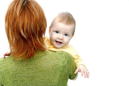 madre e bambino su bianco Archivio Fotografico