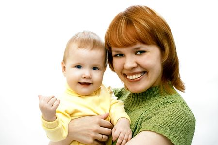 mother and baby on white Stock Photo - 440914