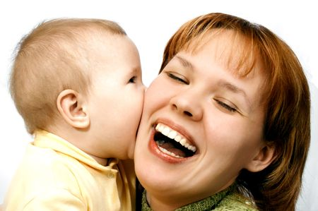mother and baby on white Stock Photo - 440885