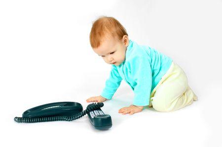 baby and phone photo