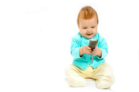 bambino e cellulare Archivio Fotografico