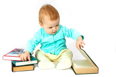portraiture: baby read the book Stock Photo
