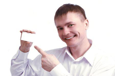 bloke: businessman show visiting card