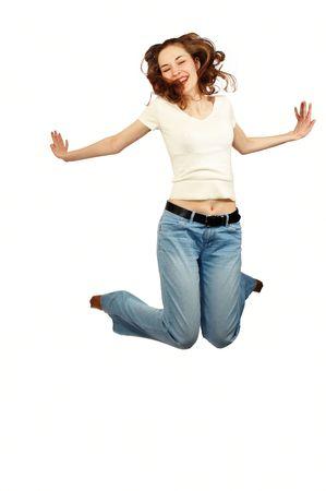 la jeune fille de beaut� saute