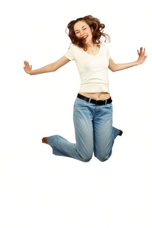 young beauty girl is jumping photo