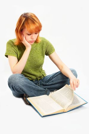 undergraduate: young girl read the book on white Stock Photo