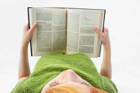 young girl read the book on white Stock Photo - 443369