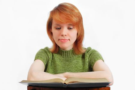 young girl read the book on white Stock Photo - 443355