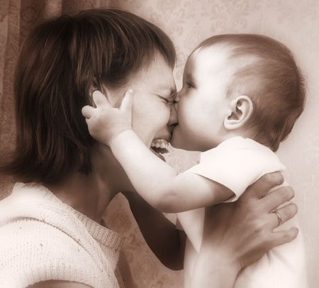 mother and baby sepia tones Stock Photo - 442596