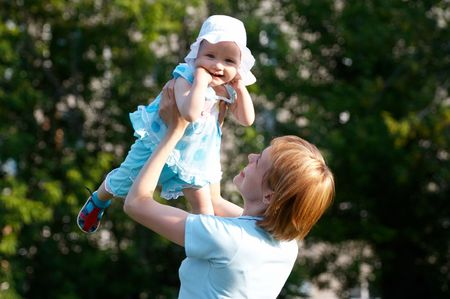 mother and baby out doors Stock Photo - 454849