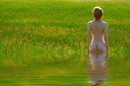 naked girl in water outdoor