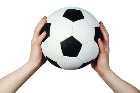 tenir la main de ballons de football  Banque d'images