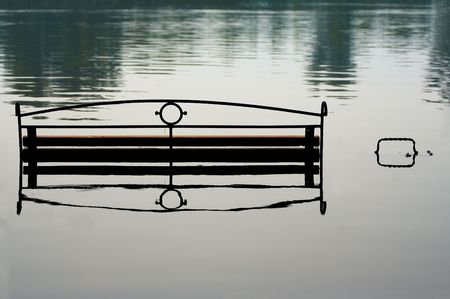 deluge: bench in river