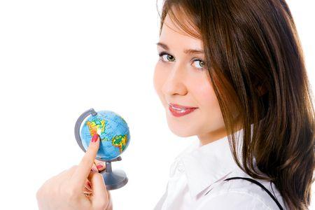 portrait pretty girl with globe show finger north america photo