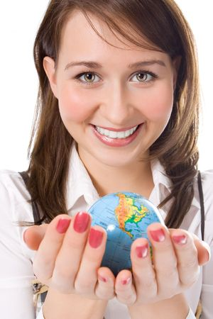 yung beauty girl hold globe in palm over white Stock Photo - 822769