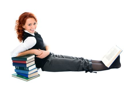 attractiveness: Young beautiful student girl with books on white background