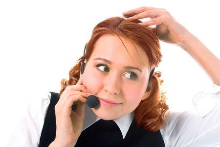 Beauty girl operator on white background photo