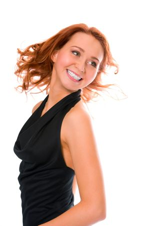 redheaded: beauty smiling redheaded girl on white background