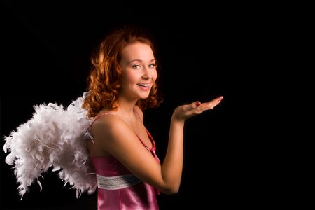 seraphic: beauty girl angel in pink on black background