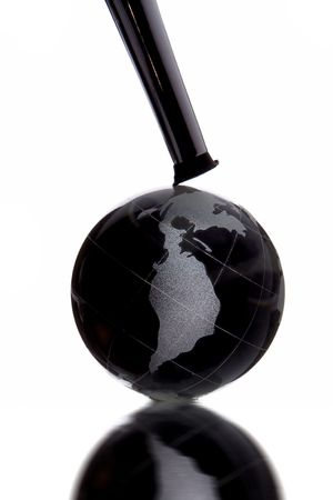 henpecked: globe with North America continent to be henpecked on whote background