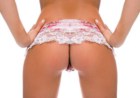 classica pin-up immagine della ragazza Bum su sfondo bianco Archivio Fotografico