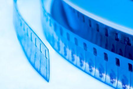 old cinema film 16 mm in blue
