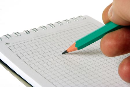 man hand write pencil in notebook on white photo