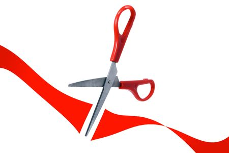 businesslike: scissors cut red ribbon in grand opening on white background