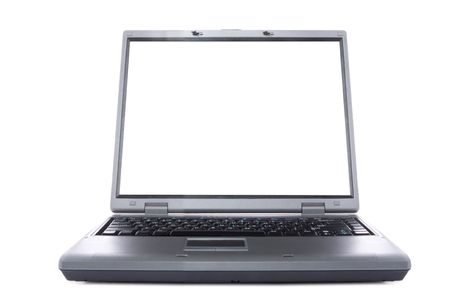 businesslike: laptop with white screen on white background