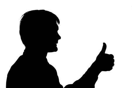 black silhouette man hold big finger up on white background photo