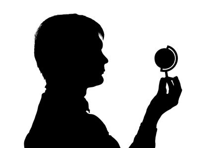 black silhouette man hold globe on white background photo