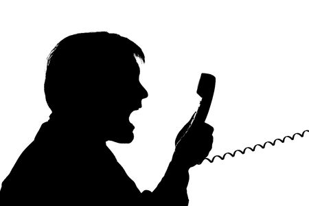 black silhouette man scream to phone on white background photo