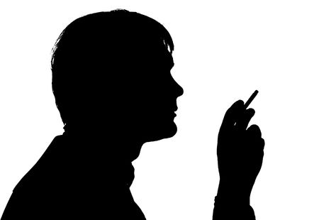 black silhouette man smoking on white background photo