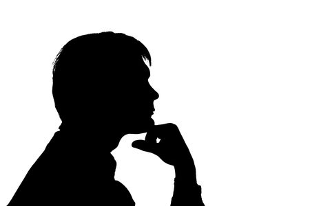 black silhouette man think on white background photo