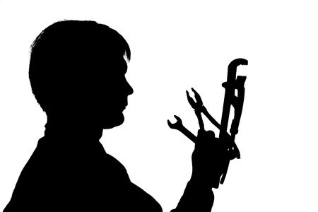 black silhouette man hold instrument on white background photo