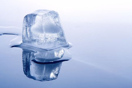 pellucid: brick of ice and water on blue