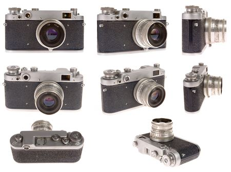 old photo camera in eight position on white background Stock Photo - 864392