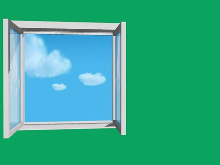 casement: open window in green wall and blue sky and clouds